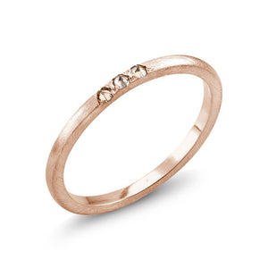Rose Gold Wedding Band with 3 Champagne Diamonds Weighing 0.09 Carat - Chillatto