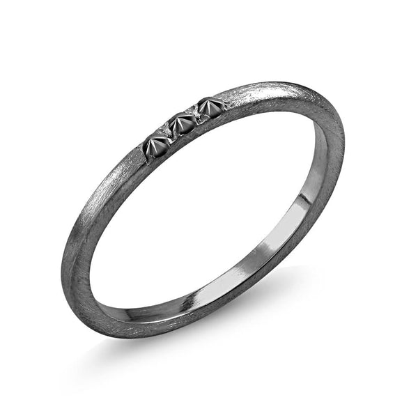 Black Plated 2mm Wedding Band with 3 Black Diamonds - Chillatto
