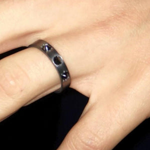 Man Blacken Black Diamond 3.5mm Wedding Band - Chillatto