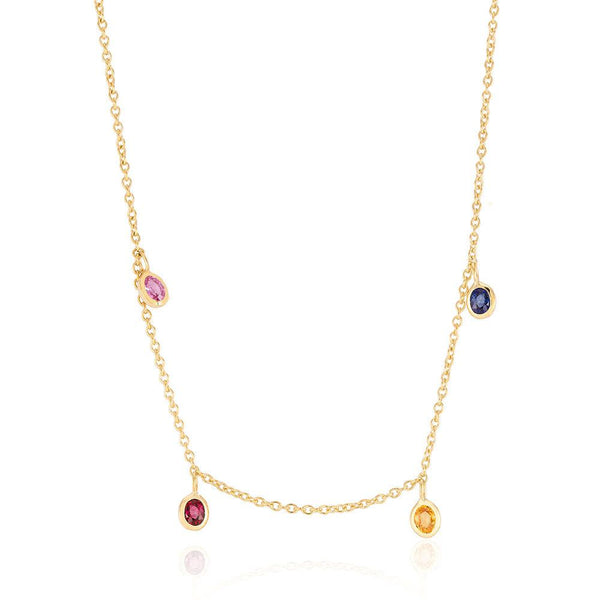 Pink Blue Yellow Sapphire Ruby Bezel Set Charms Hanging Necklace - Chillatto