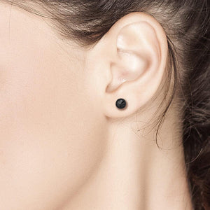 "Tiny Black Diamond Bezel Stud Earrings 0.10"" - Chillatto"