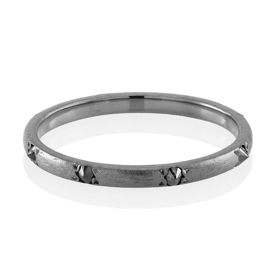 Black Plated Band with 8 Genuine Black Diamond, a 2mm Wide Band