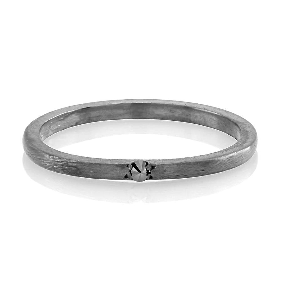 Band with one Genuine Black Diamond, Pave-Set Band, Black Rhodium Plated