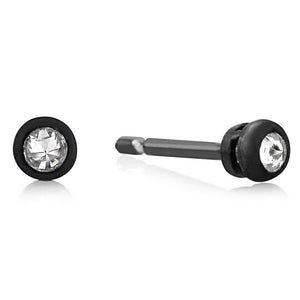 Blacken Stud Earrings with White Diamond Weighing 0.05 Carat - Chillatto