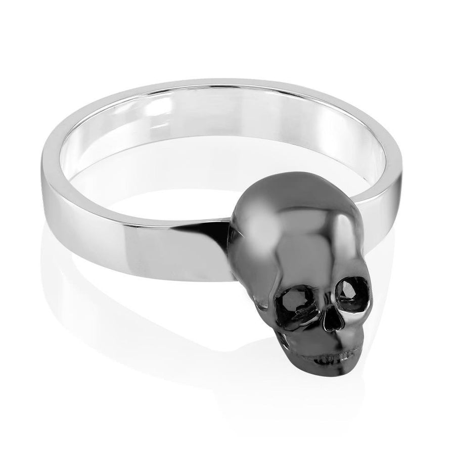 Skull Ring with Genuine Black Diamond Eyes on a 3mm Band,