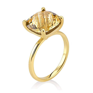 Cushion Shape Yellow Citrine Solitaire Ring Weighing 4 Carat - Chillatto