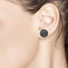 Blacken Circle Stud Earrings with Black Diamond Weighing 0.20 Carat - Chillatto