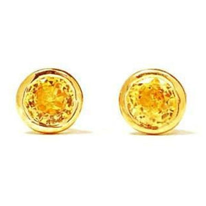 14k Yellow Gold Yellow Sapphire Bezel Stud Earrings 0.30 Carat - Chillatto