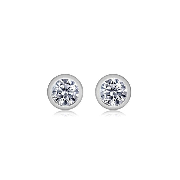 Tiny Diamond Bezel Stud Earrings Weighing 0.05 Carat - Chillatto