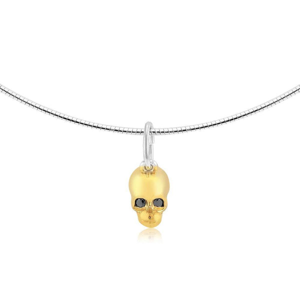 Skull Charm Pendant Necklace Black Diamond Eyes - Chillatto