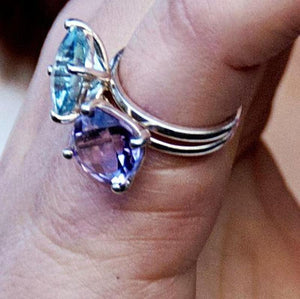 Cushion Shape Blue Topaz Solitaire Ring Weighing Two Carat - Chillatto