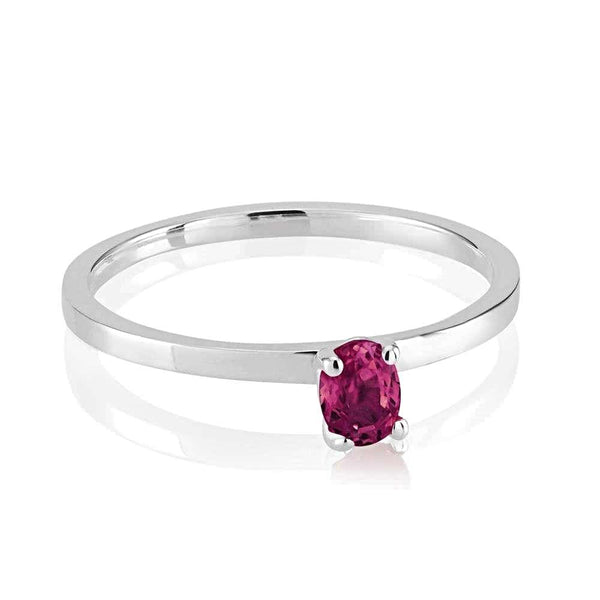 Cabochon Ruby Stacking Ring Weighing 0.35 Carat - Chillatto