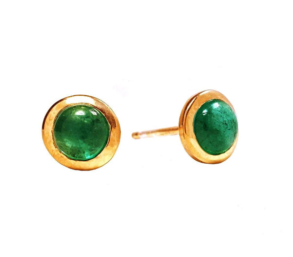 Cabochon Emerald Yellow Bezel Stud Earrings Weighing 0.22 Carat - Chillatto