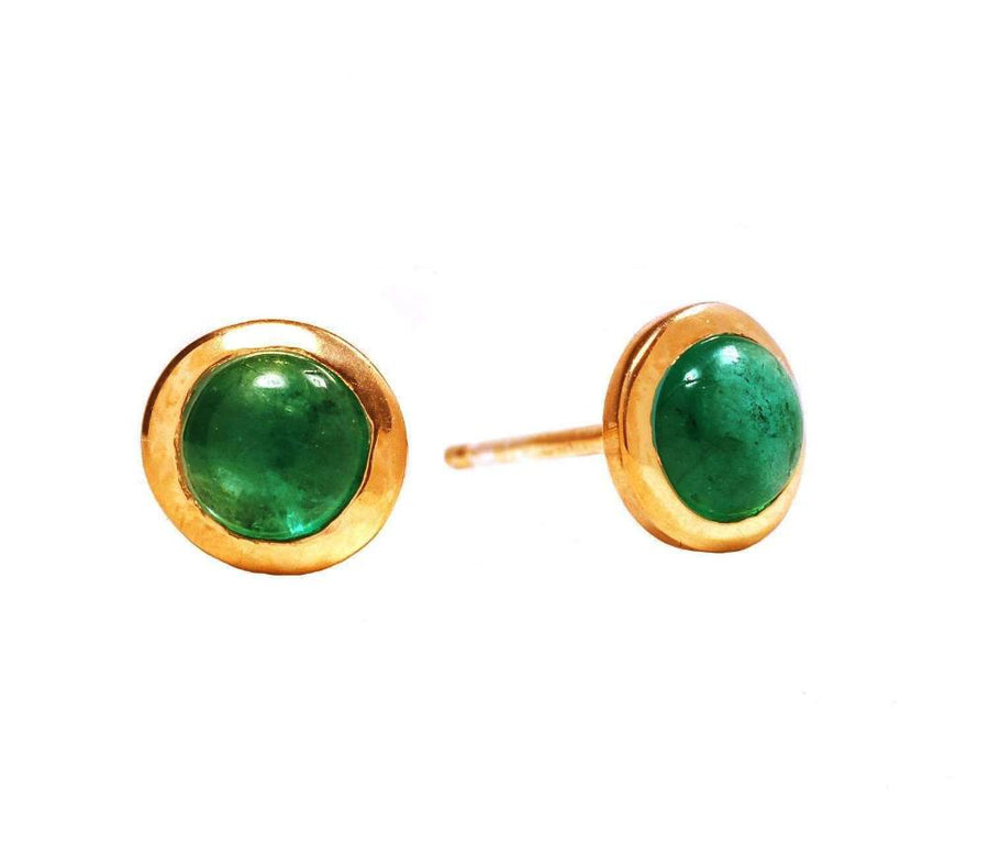 "Genuine Cabochon Emerald 3mm Bezel Stud Earrings 0.10"" Yellow Gold Plated"