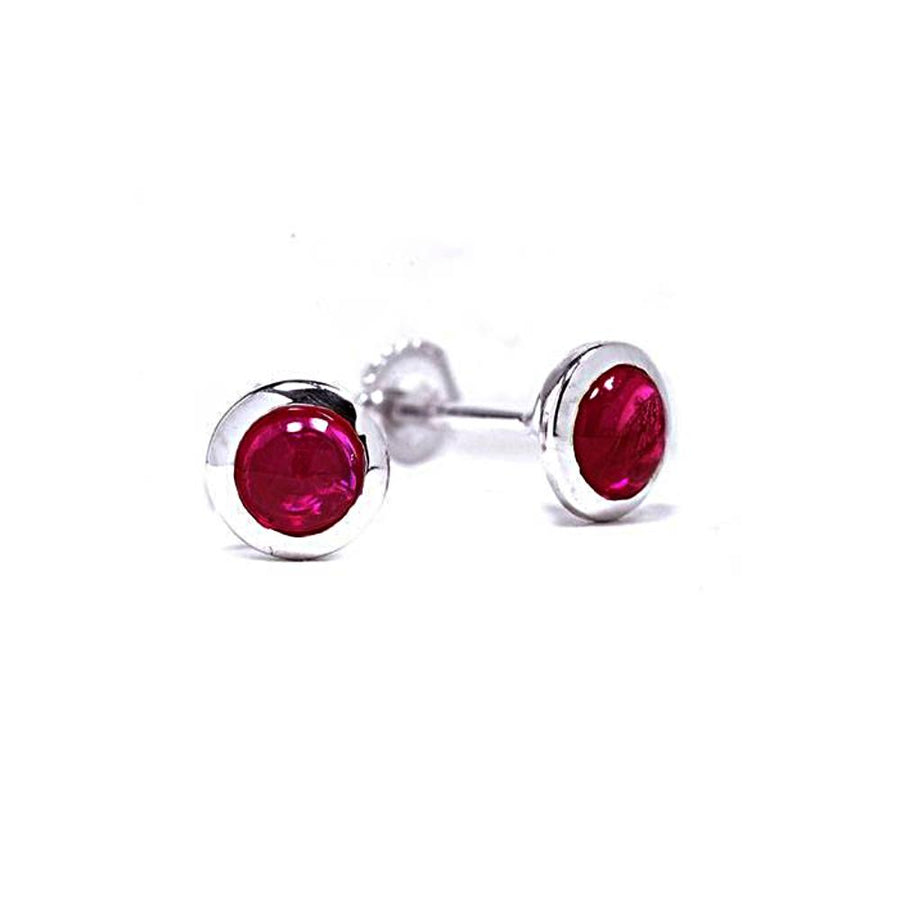 "Genuine Cabochon Ruby Bezel Stud Earrings 0.13"" White Gold Plated"