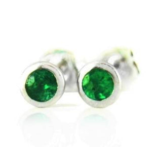 Tsavorite Bezel Stud Earrings Weighing 0.06 Carat - Chillatto