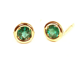 Emerald Bezel Stud Earrings Weighing 0.06 Carat - Chillatto