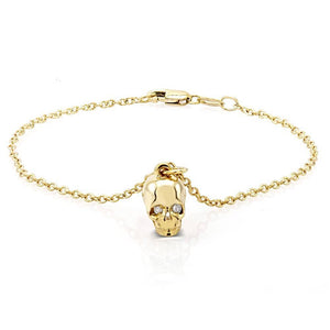Bracelet with Skull Charm and Diamonds - Chillatto