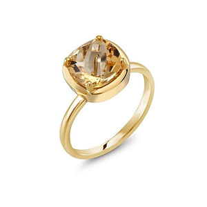 Cushion Yellow Citrine Bezel Ring Weighing 2 Carat - Chillatto