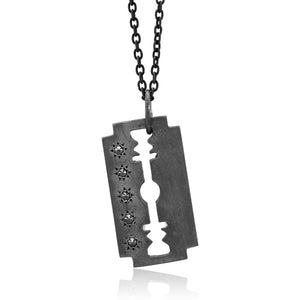 Razor Charm Pendant Necklace with Five Diamonds - Chillatto