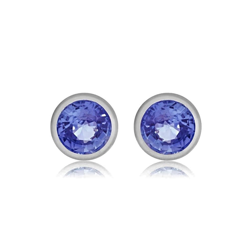 0c2f773f0 Sapphire Bezel Set Stud Earrings Weighing 0.25 Carat - Chillatto