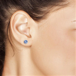 Sapphire Bezel Set Stud Earrings Weighing 0.25 Carat - Chillatto