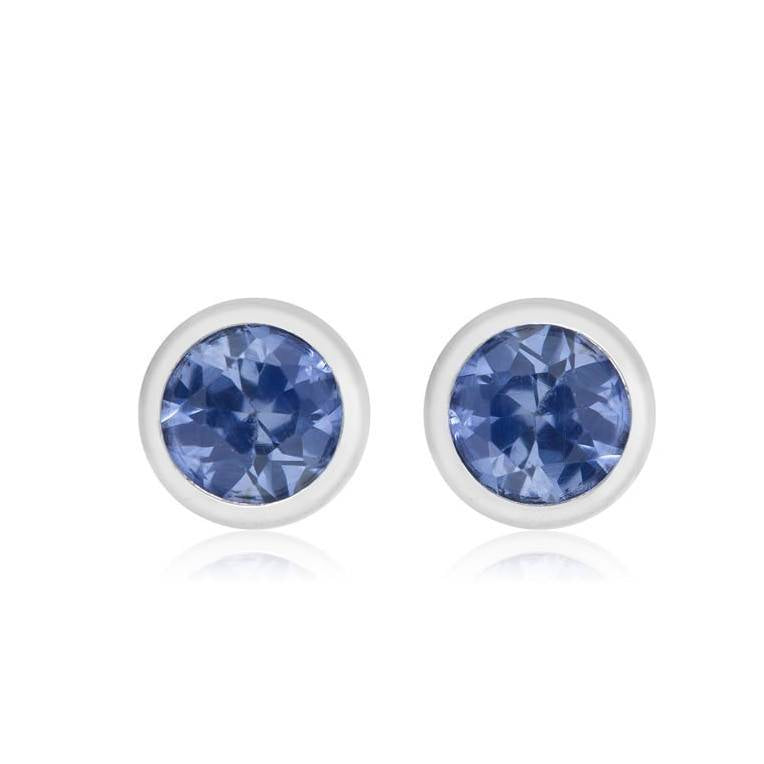 182a5fcad Tiny Bezel Sapphire Stud Earrings Weighing 0.08 Carat - Chillatto