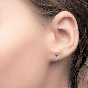 Tiny Bezel Sapphire Stud Earrings Weighing 0.08 Carat - Chillatto
