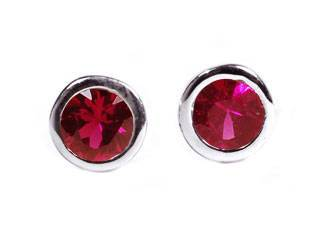 Tiny Ruby Bezel Set Stud Earrings Weighing 0.12 Carat - Chillatto