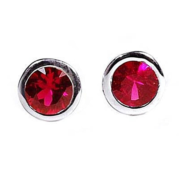 14k White Gold Ruby Bezel Stud Earrings 0.25 carat - Chillatto
