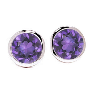 Amethyst Bezel Set Stud Earring Weighing Four Carat - Chillatto