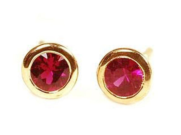 18K Yellow Gold Ruby Bezel Stud Earrings Weighing 0.30 Carat - Chillatto
