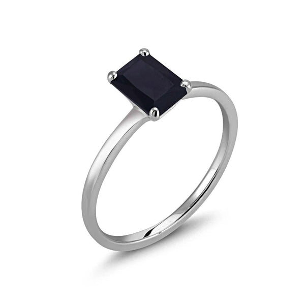 Emerald Cut Black Amber Solitaire Ring - Chillatto