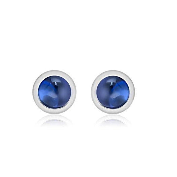 Cabochon Sapphire Bezel-Set Stud Earrings Weighing 0.15 Carat - Chillatto