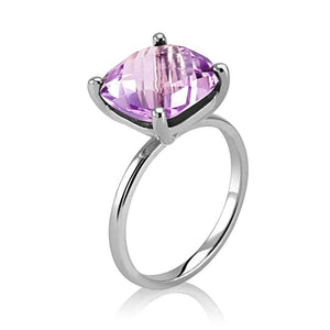 Cushion Shape Pink Rose Amethyst Ring Weighing 4 Carat - Chillatto