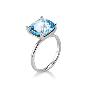 Cushion Shape Blue Topaz Ring Weighing 4 Carat - Chillatto