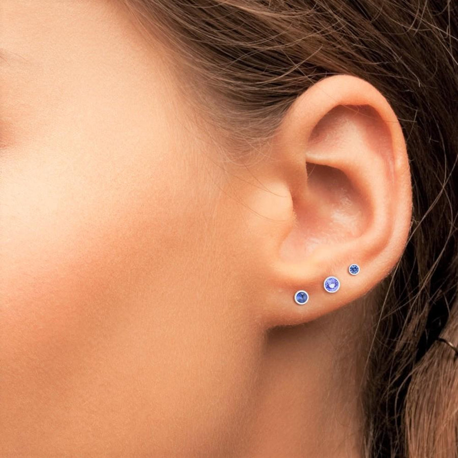 Single Bezel Stud Earrings with Blue Sapphire for 2nd or 3rd Hole width 0.10""