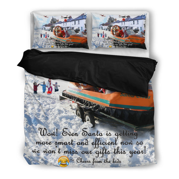 Santa Claus Hovercraft & Drones Christmas Bedding Set