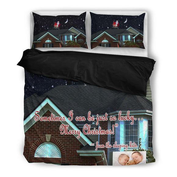Santa Claus Christmas Gifts down your Chimney Bedding Set