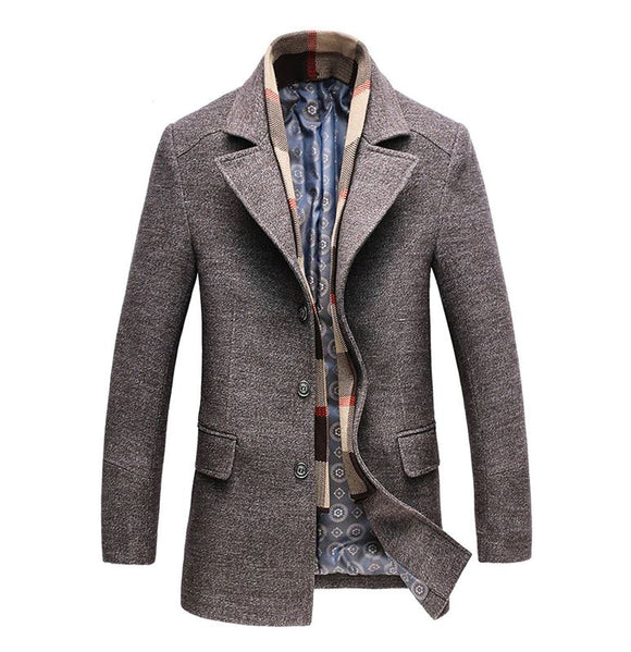 Men's Casual Thick Wool Pea Coat (jacket, fashion, clothing, winter)