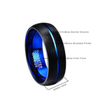 Blue Plated and Black Matte Finish Groove Tungsten Carbide Ring (Jewelry)