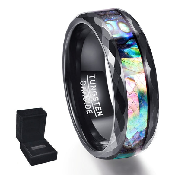 Black Polished Facet and Abalone Shell Tungsten Carbide Ring (Jewelry)