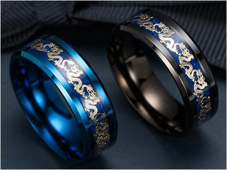 Classic Dragon Titanium Stainless Steel Ring (Jewelry)