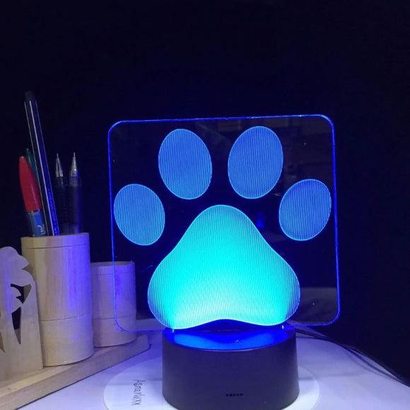 Colorful Dog Paw 3D Table LED Lamp
