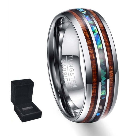 Hawaiian Koa Wood and Abalone Shell Tungsten Carbide Ring (Jewelry)