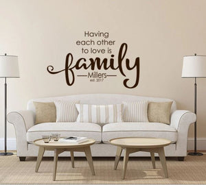 "Family Monogram Decor (Wall Decal/Wall Art) - ""Having Each Other To Love is Family"""