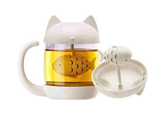 Cute Cat/Monkey Fish/Heart Tea Infuser Glass Mug (Kitchen)