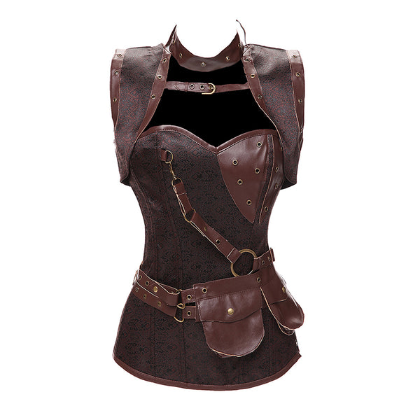 Steampunk Boned Corset Leather Gothic Cosplay Outfit (Halloween)