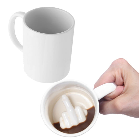 Funny Novelty Style White Middle Finger Coffee Mug (Kitchen)