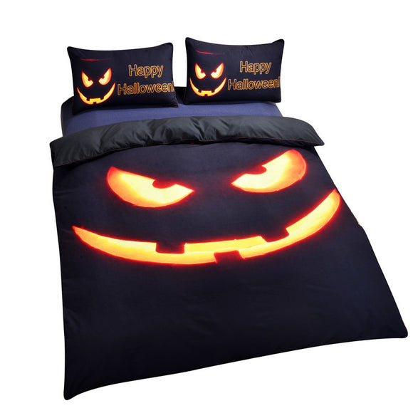 3D Happy Halloween Pumpkin Duvet Bedding Set
